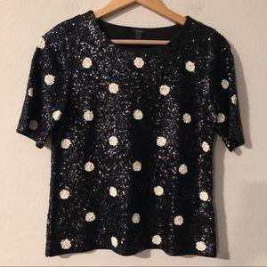 NWOT J Crew black and cream dot sequin blouse